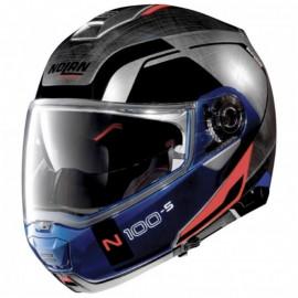 Nolan N100-5 Consistency scratched chrome blau